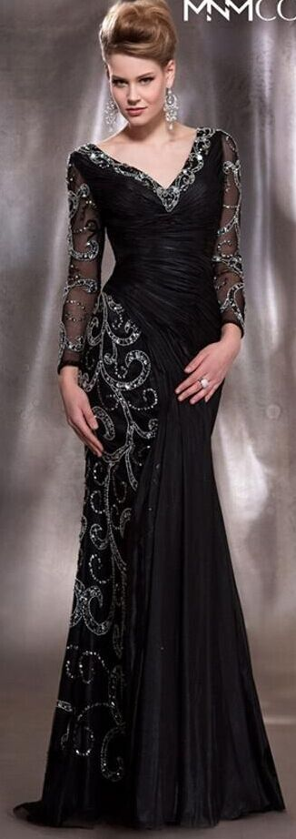 Mother Of The Bride Dresses Plus Size Formal Black V Neck Long Sleeve Mermaid Sequins Crystal Beads Chiffon Sheer Evening Dresses