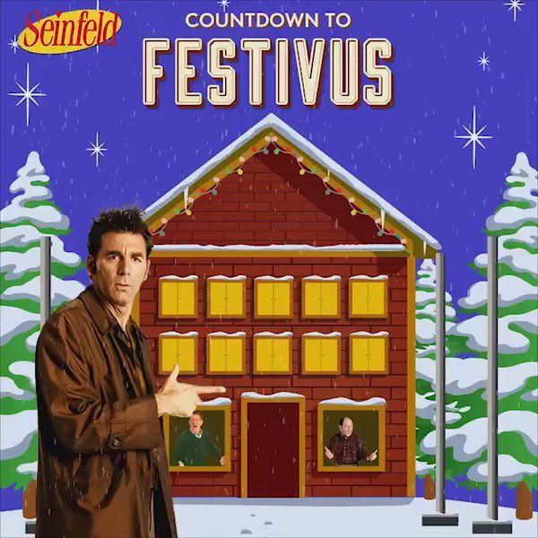 """Starts: 12/19/16 #Festivus - Seinfeld: """"The #5DaysofFestivus! Tune in Monday through Friday to watch the Festivus episode every night this coming week!"""" : twitter  #Seinfeld #Festivus #gif"""