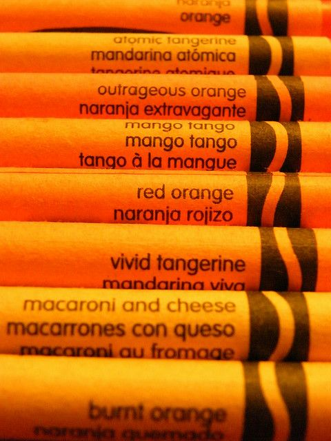 Shades of orange crayons what 39 s in a name anything for Orange colour things