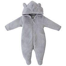 Buy My 1st Years Baby Peronsalised Bear Fleece Onesie, Grey Online at johnlewis.com