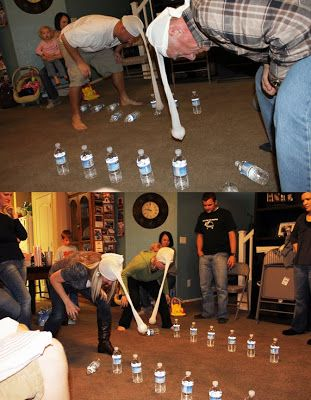swing the ball around to knock down the containers. haha!  Paint bottles to be snowmen.