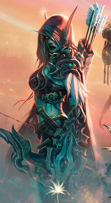 One of my favourite WoW characters. Hail to the Dark Lady! - Lady Sylvanas Windrunner, former Ranger-General of Quel-Thalas and Banshee Queen of the Forsaken.