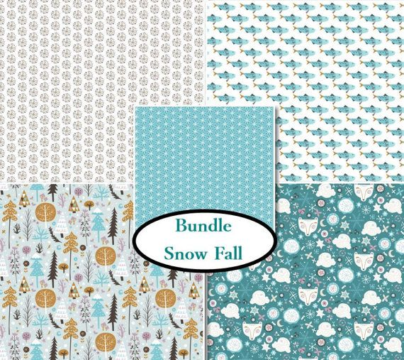 5 motifs Snow Fall ours poisson arbre turquoise Camelot