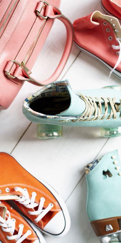 Vaalea roosa laukku, Accessorize, 1. krs. Rullaluistimet rekvisiittaa, saatavilla verkkokaupasta osoitteesta www.jaminthebox.com.