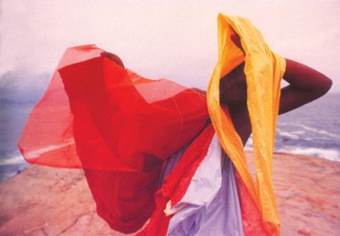 Parangoles - Helio Oiticica work exploring colour, space, time and the interactions of viewer/participant and art.