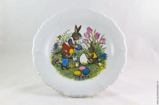 Винтажная посуда. Ярмарка Мастеров - ручная работа. Купить Пасхальная тарелка, Германия. Handmade. Комбинированный, фарфор германия