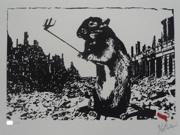 """Blackjack Le Rat - na de Apocalyps  Een originele zeefdruk vanaf de iconische Franse street artist """"Blackjack Le Rat"""". Deze klassiek stuk heet """"Na de Apocalyps"""".Blackjack le Rat geboren Xavier Prou 1952) was een van de eerste graffitikunstenaars in Parijs en is beschreven als de """"vader van stencil graffiti"""" ongetwijfeld een pictogram in de straat kunstscène! Britse graffitikunstenaar Banksy heeft erkend Blackjack van invloed met vermelding van """"elke keer als ik denk dat ik iets iets…"""