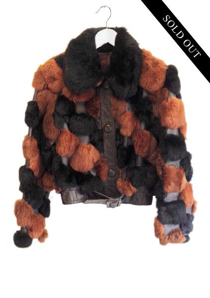 Rabbit Fur and Leather Cropped Jacket