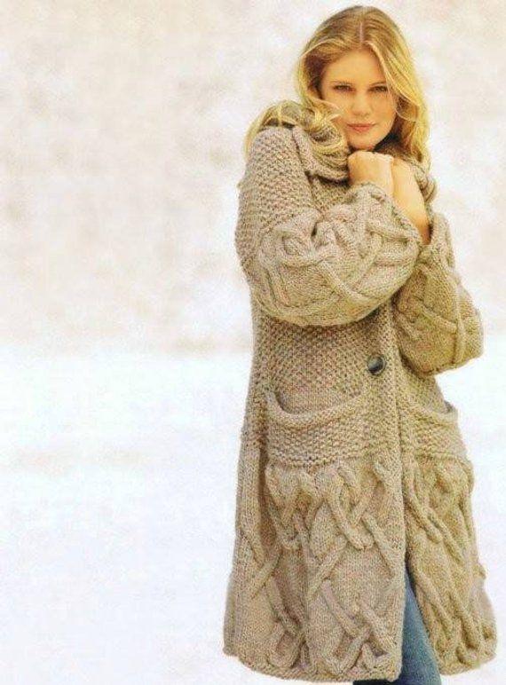 Hand Knit women's coat aran, Women's jacket , Women cardigan