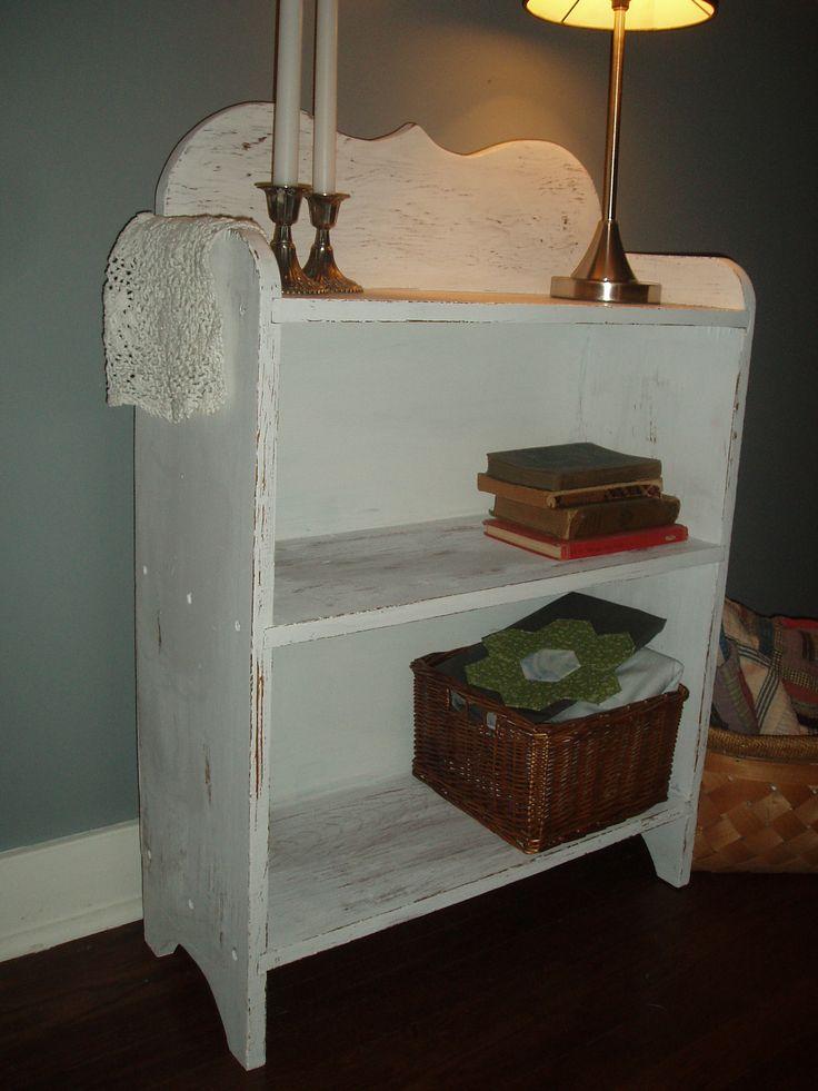 Pine shelf in shabby white