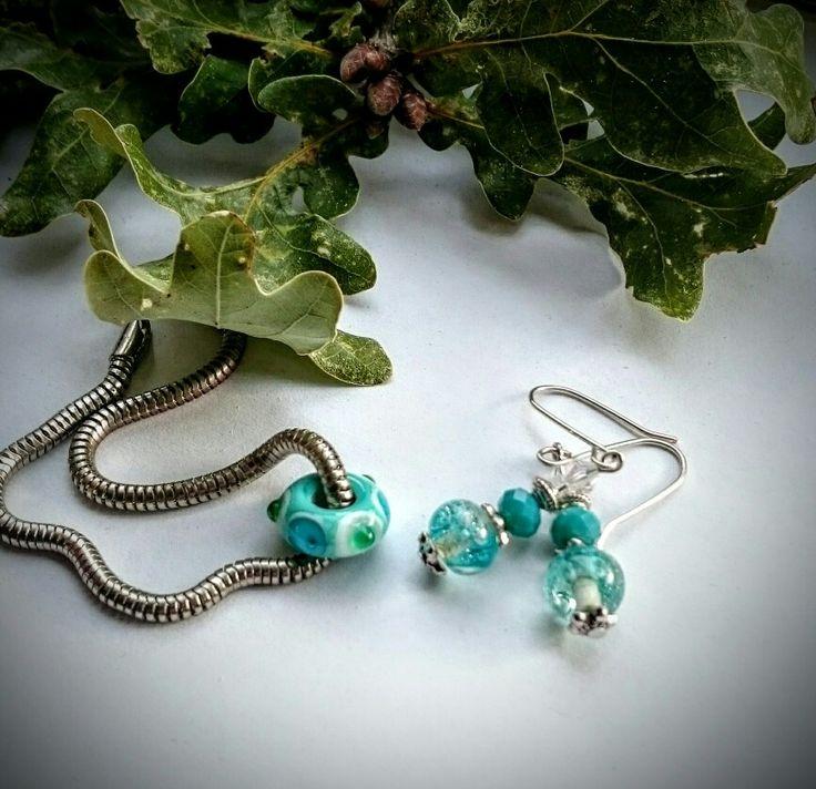 Lampwork trollbead glass handmade in my studio Set earrings  for sale Link