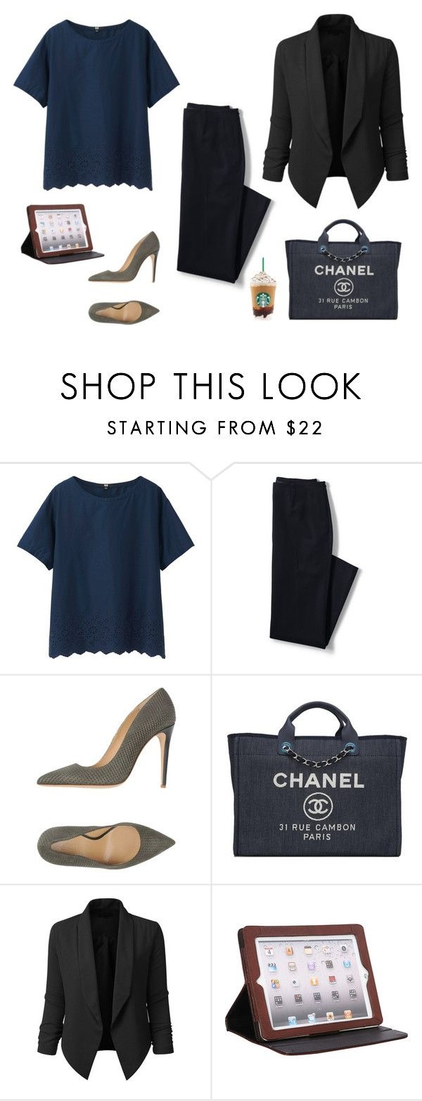"""Business look"" by monika1555 on Polyvore featuring Uniqlo, Lands' End, Armani Collezioni, Chanel, LE3NO and Latico"