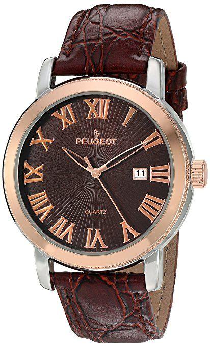Peugeot Hombres de color marrón correa de cuero calendario reloj