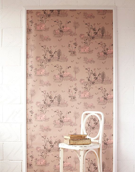 Woodlands Wallpaper Brown Pink by SianZeng on Etsy
