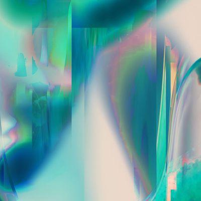Pacifica glitch Art Print #holographic #art