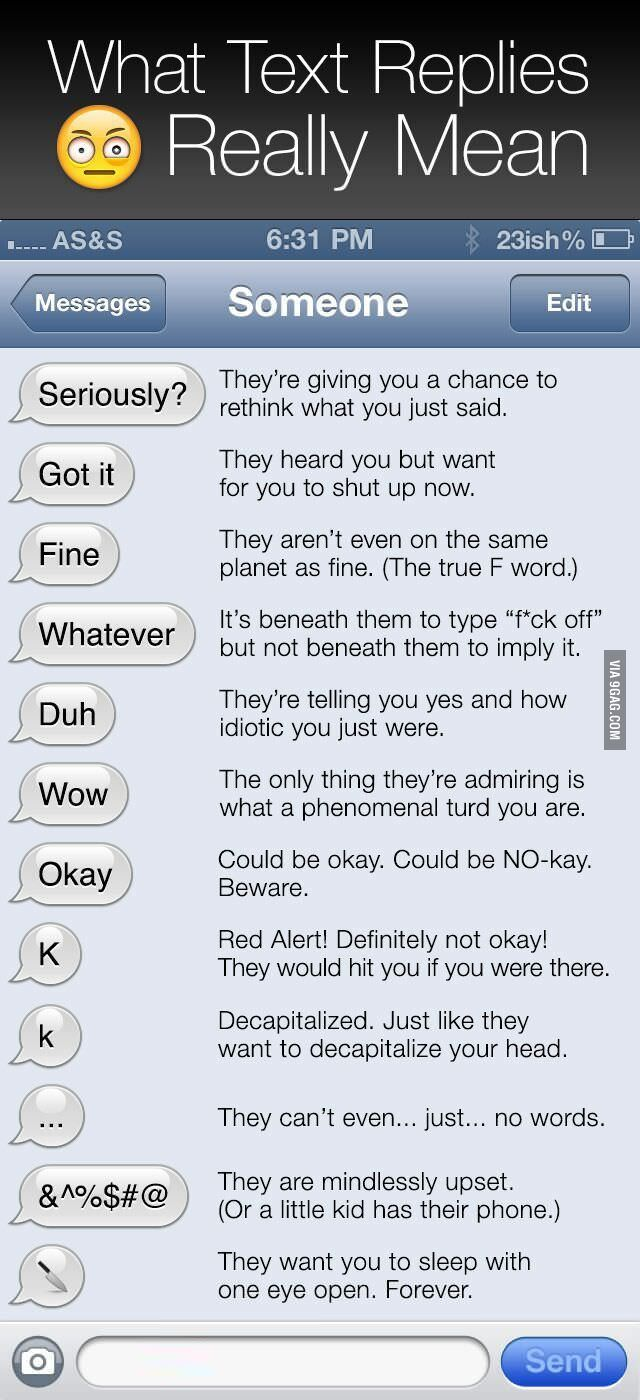 """What Text Replies Really Mean. """"...Just like they want to decapitalize your head....""""  Dying."""
