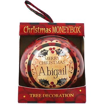 Personalised Money Box Bauble - Abigail | Money Boxes at The Works