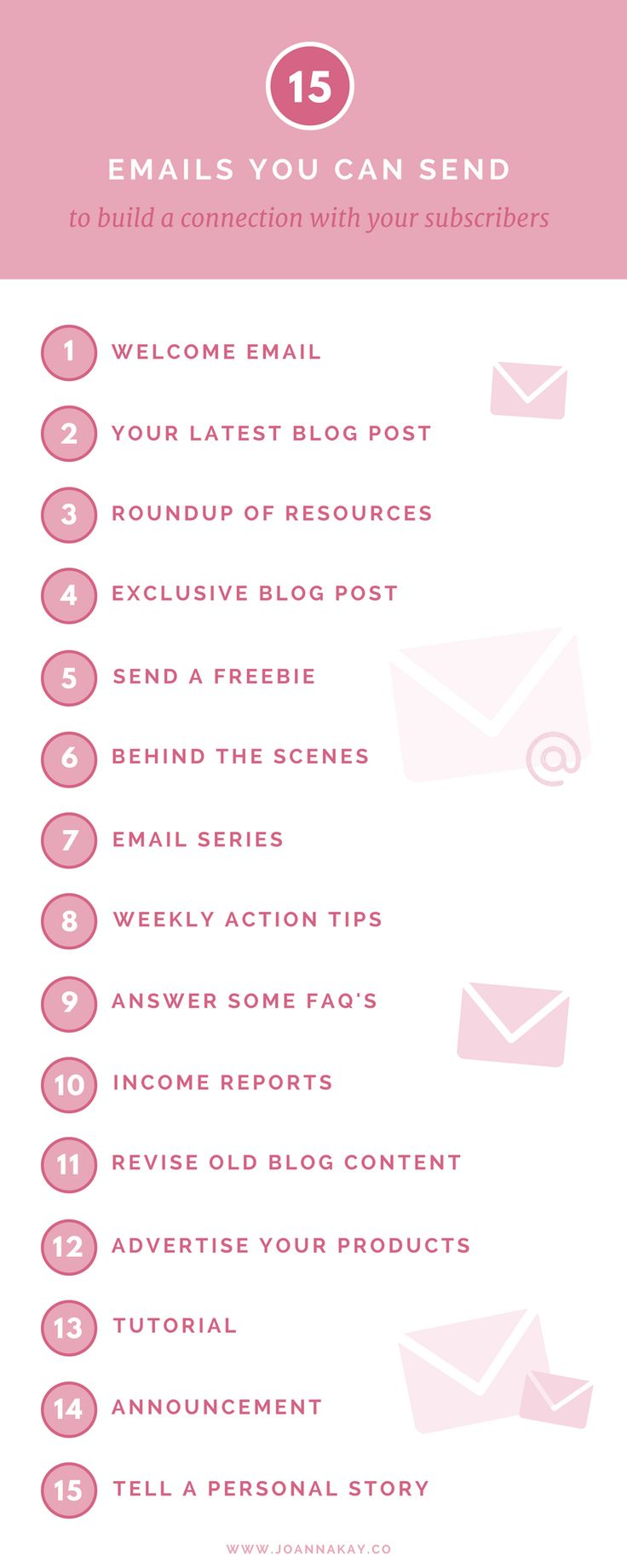 Not sure what to send to your email list? I've got you covered! This post has 15 ideas of things you can send to your email list to help you build a connection with your audience. Just click through to read more!