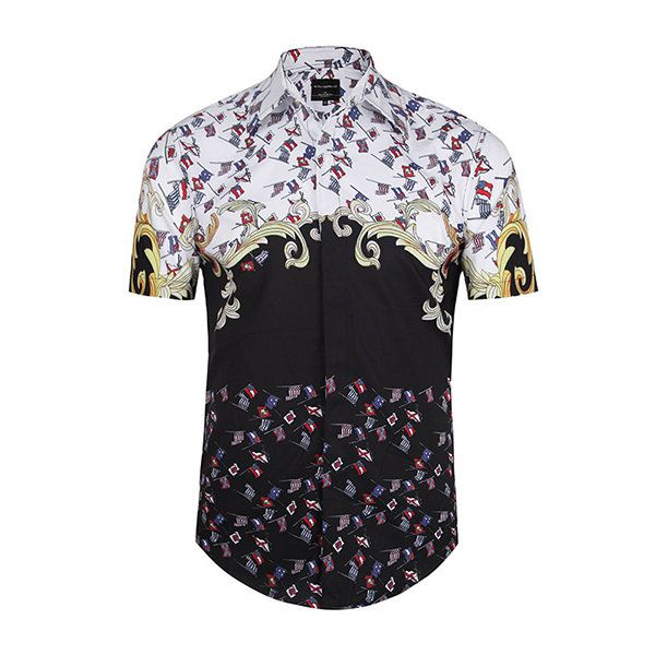 Vintage Casual Bussiness 3D Printing Fit Short Sleeves Multi Colors Dress Shirts for Men