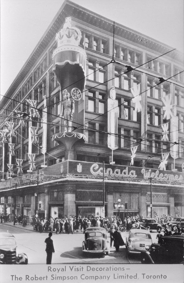 The Simpson's department store at Queen and Yonge, Toronto, decorated for the visit of George VI in May 1939.