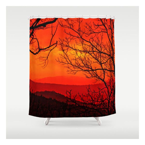 Orange Range Shower Curtain ($68) ❤ liked on Polyvore featuring home, bed & bath, bath, shower curtains and orange shower curtains