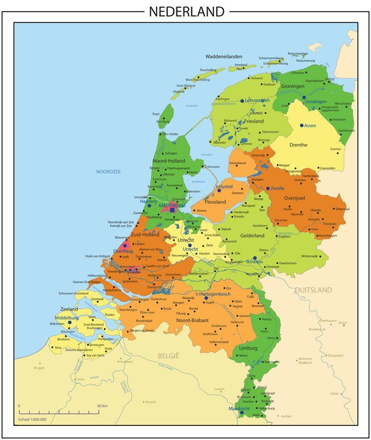 The Netherlands, zo'n kaart hing voor in de klas