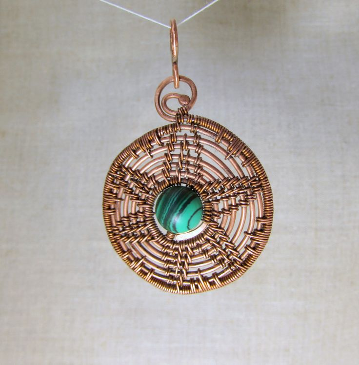 Copper pendant with malachite. wire works