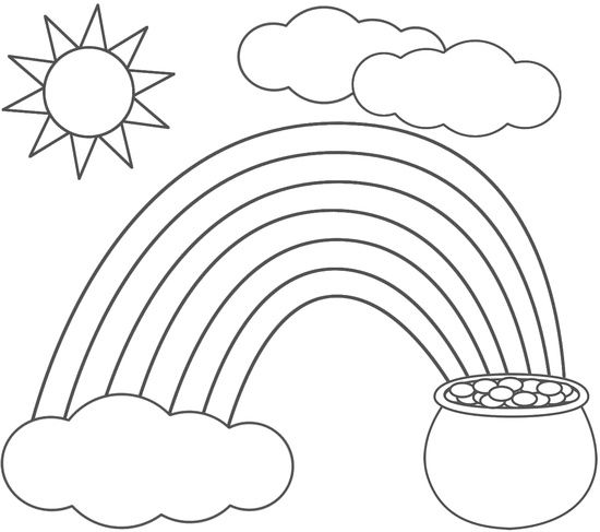 rainbow pot of gold sun and clouds coloring pages - Coloring Pages Rainbow Pot Gold