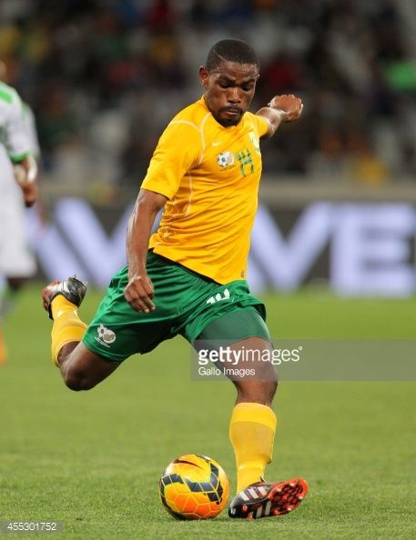 Thulani Hlatshwayo of South Africa during the Orange AFCON Morocco 2015 Final Round Qualifier match between South Africa and Nigeria at Cape Town...