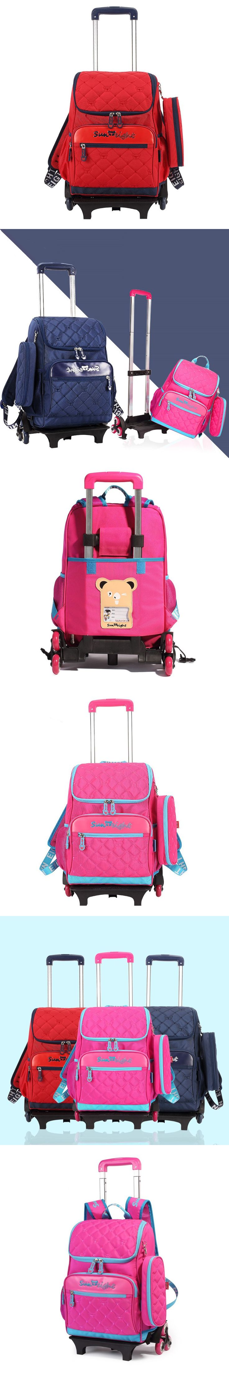 Red plaid wheeled school bag for girls backpack child trolly bag with wheels kids back pack mochila boys school bags pen case