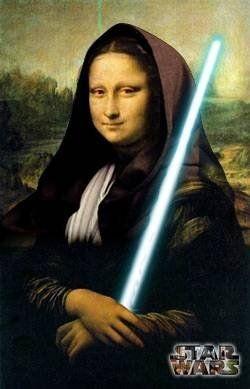 Mona Lisa as Obi Wan Kenobi, Jedi Knight, Pop Art, Star Wars art.