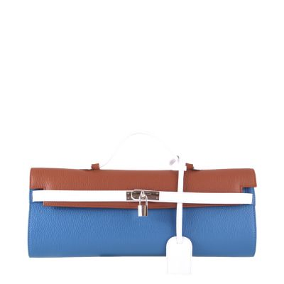 Blue-cognac-white, leather clutch