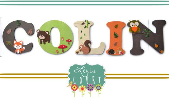 "Children's Wall Letters!!!  This piece can coordinate with the Lambs and Ivy ""ECHO"" bedding set or any other woodland themed nursery or bedroom.  Lewis Court custom designs every piece around client requests.  They will coordinate with ANY color scheme, theme and style!"