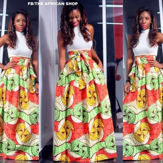 Oasis Maxi Skirt with bow tie van THEAFRICANSHOP op Etsy, £45.00