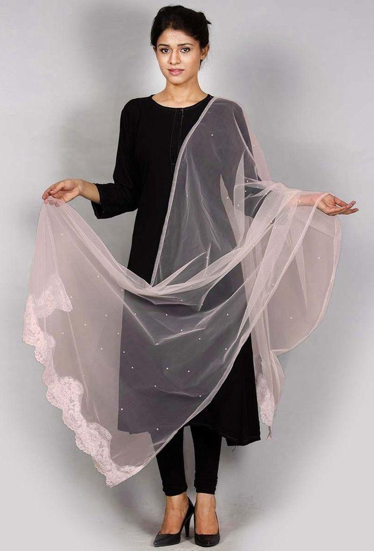 Buy ONION NET CHANTILY DUPATTA@ https://www.tjori.com/accessories/chantilly-lace-dupattas/