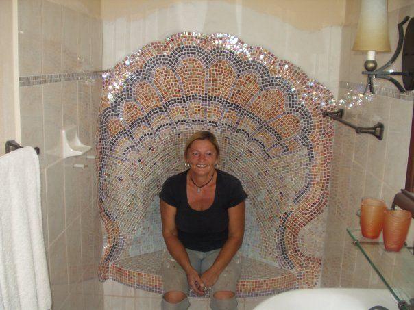 Seashell bathroom shower completed