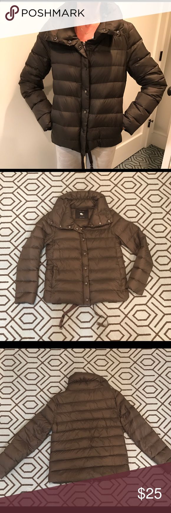 ZARA down jacket sz small Barely worn, ZARA, brown, lightweight down jacket. A very faint spot on left upper arm as shown, abt 1/4 centimeter. There are pulls at the bottom to tighten the waist. Jackets & Coats