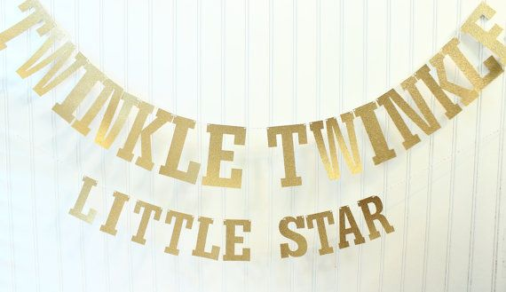 Twinkle Twinkle Little Star Baby Shower, Christmas Decor, Gold Glitter Banner, Photo Prop, Twinkle Star Garland, Twinkle Birthday Decor