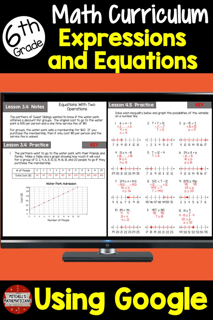 6th Grade Math Variables Expressions and Equations