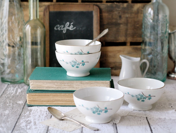 Vintage French Cafe au Lait bowls with Turquoise/Teal Flowers