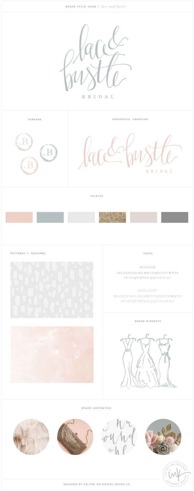 Brand Launch: Lace & Bustle Bridal | Brand design by Salted Ink | Hand Lettered, Modern Calligraphy, Brush Pen, Hand Drawn Logo, Watercolor, Gold Foil | www.saltedink.com