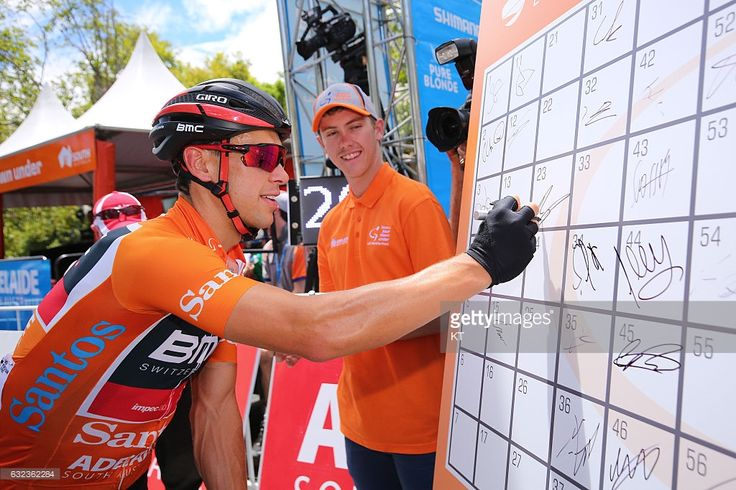 #TDU 19th Santos Tour Down Under 2017/ Stage 6 - Men Start / Richie PORTE (AUS) Orange Leader Jersey / Signature / Adelaide - Adelaide (90Km)/ Be Safe Be Seen MAC / Men / TDU / ©Tim De WaeleKT/Tim De Waele/Corbis via Getty Images)