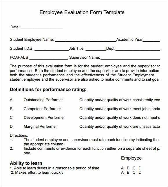 30 Employee Performance Appraisal Form Template In 2020