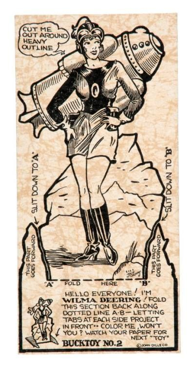 A Wilma Deering Cutout! - Newspaper issued Buck Rogers 'BUCKTOY' premium card from 1932-1934.