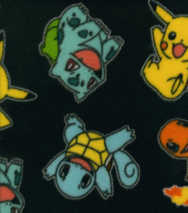 Pokemon Character Black Fleece Fabric Pokemon Fleece