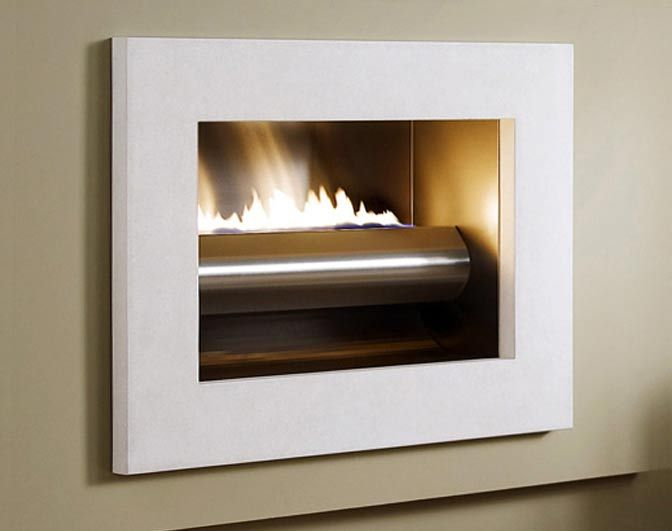 Wings of Flame - gas fireplace, contemporary limestone frame, suspended fire.