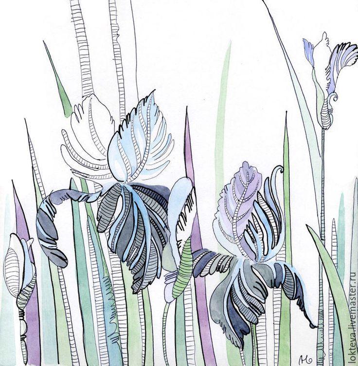 Купить Графика, акварель Ирисы - тёмно-синий, ирисы, цветы, картина с цветами, акварельные цветы