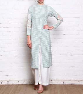 Pink Hounds Tooth Printed Cotton Kurta With Pants