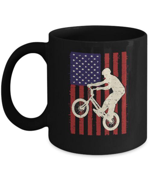 Shirt White BMX Cycling Distressed American Flag Coffee Mug 11oz Black