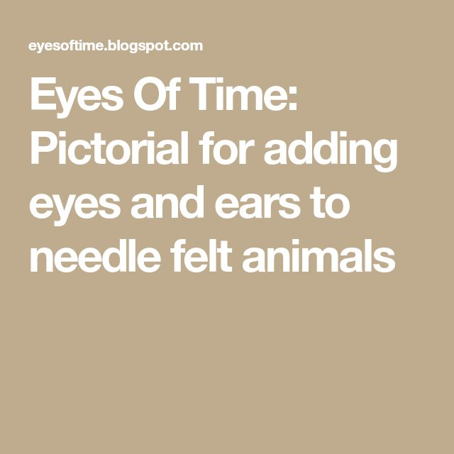 Eyes Of Time: Pictorial for adding eyes and ears to needle felt animals